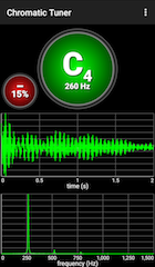 Screenshot from a tuning app - Chromatic Tuner