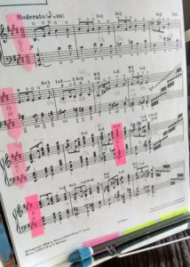 Harp score with pedal changes marked