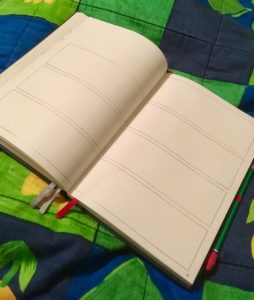 Notebook with 7 empty spaces across 2 pages