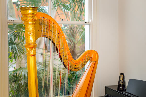 Harp and metronome in a music room