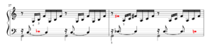 Excerpt from the Prelude showing a section with lever changes