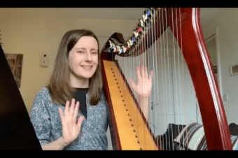 Live Harp Lesson 34 – Introduction to playing hands together